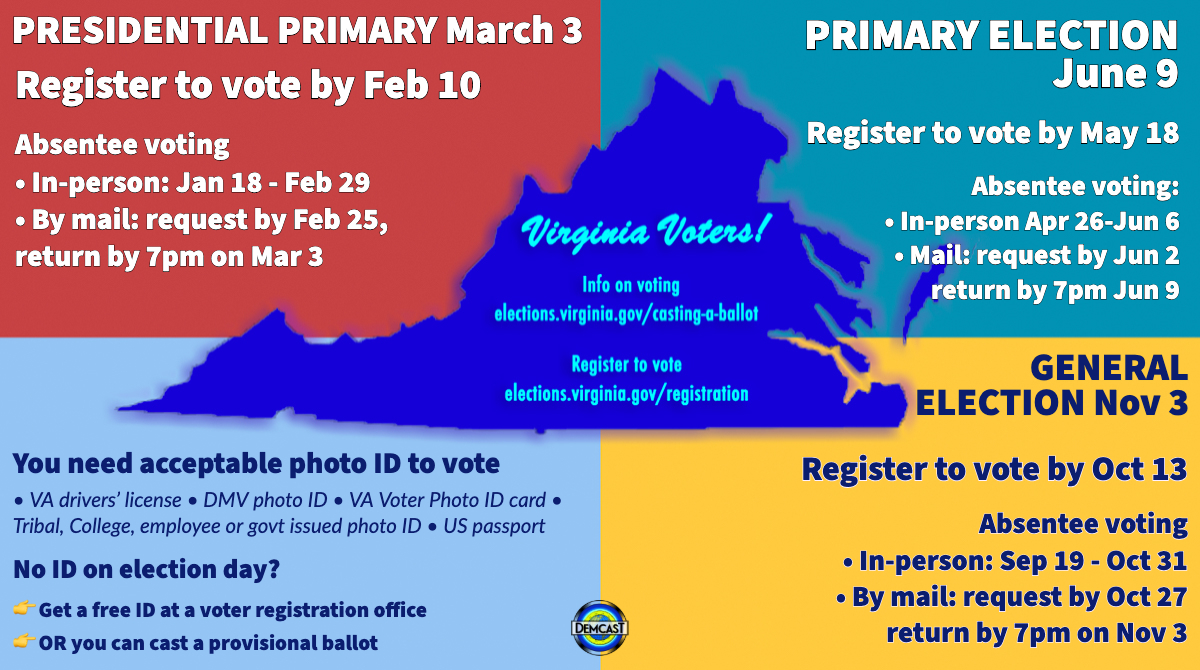 🔥Virginia its not too late to register to vote for the Primary ⏰Register online today Feb 10! vote.elections.virginia.gov/Registration/E… Or update your voter reg here 👉 elections.virginia.gov/citizen-portal/ You can also download a form or visit your local voter reg office 👉 elections.virginia.gov/registration/h…