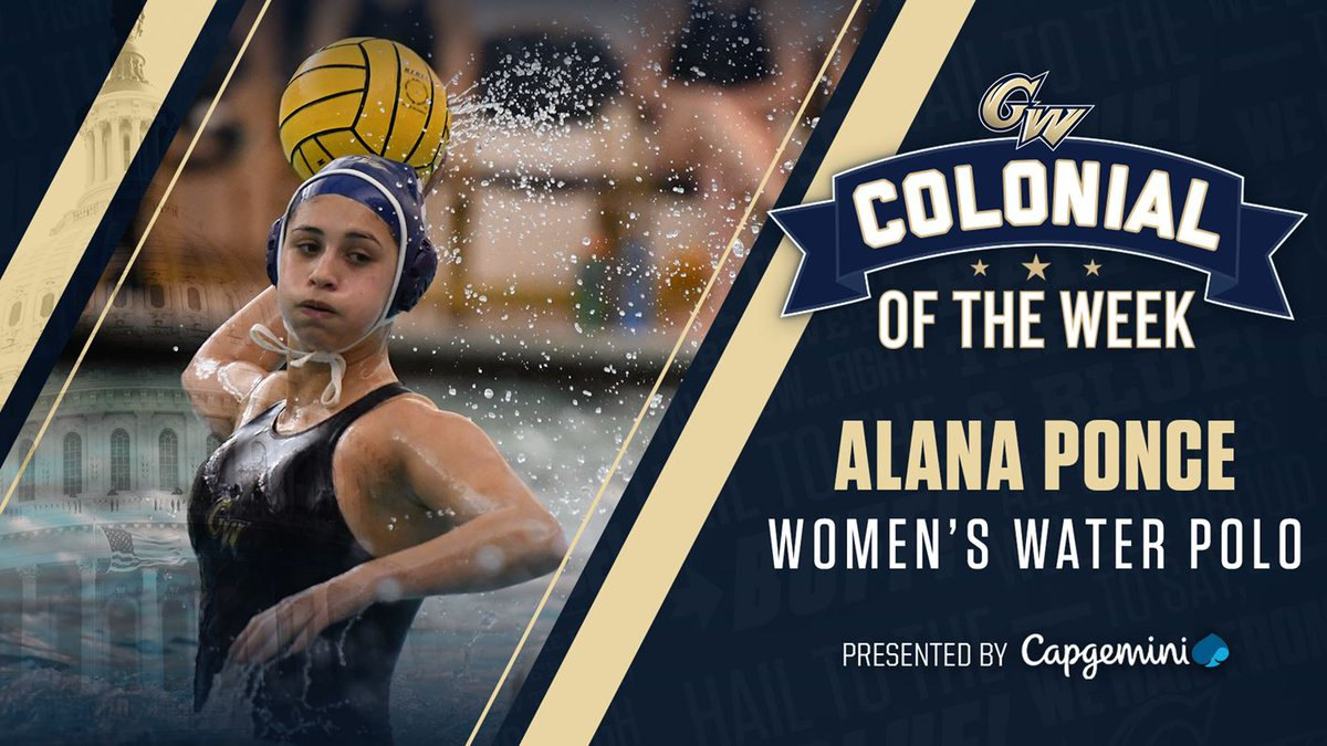 Alana Ponce is the @Capgemini Colonial of the Week after leading @GW_WaterPolo to a winning weekend at the Bucknell Invitational, posting 13 goals and six assists over four games! #RaiseHigh   https://gwsports.com/news/2020/2/10/womens-water-polo-colonial-of-the-week-presented-by-capgemini-alana-ponce.aspx …pic.twitter.com/YjCyJYPgi6