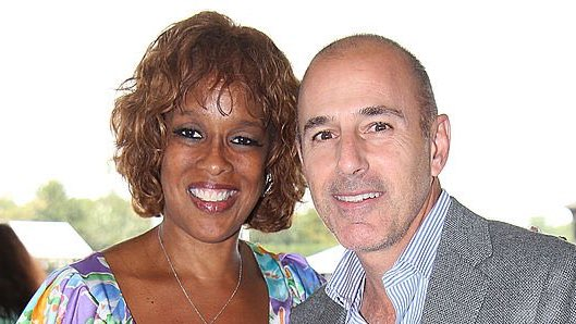 """#IStandWithGayle as she hugs up with her """"friend"""" Matt Lauer. Yes, this is the same man who stands accuse of anally raping a coworker. But no worries, Gayle King is all SMILES, she is the white-male """"bestie"""" yo know the neighborhood """"rape apologists"""" for wyt males.#Firstthem"""