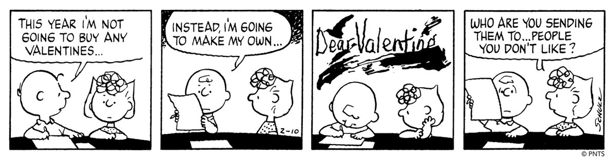💌 DIY valentines à la Charlie Brown! 💖 🖋️ This Peanuts strip was first published on February 10, 1984.