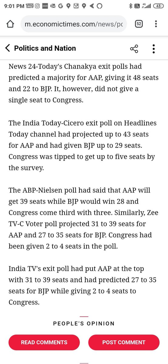 2015 exit poll is wrong by 15 to 20 seats...  Then why not wait for results till tomorrow https://twitter.com/HindiShabdKosh/status/1226891968241758208/photo/1pic.twitter.com/92MNdpdUIl pic.twitter.com/2TPOSlIdRi