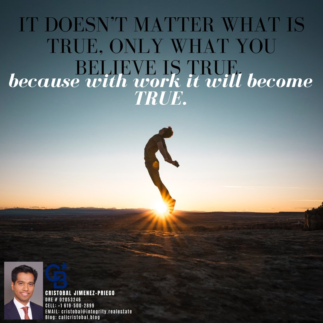 """""""It doesn't matter what is true, ONLY WHAT YOU BELIEVE IS TRUE. because with work it will become TRUE.""""#sandiegocounty #lajolla #clairemont #realestatelife #quoteofthedayy #mondayvibes #morningvibes#mondayquotes #sandiegorealestate #callcristobal #DRE02053246pic.twitter.com/EZvthK5b3Q"""