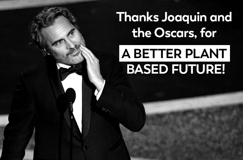 """Congratulations to @JoaquinPhoenix and this wonderful #Oscar, for leading a better plant-based🌿future 😊 ""Run to the rescue with love❤️and peace will follow"" #GoVegan #FloraPlantBetter #ABetterPlantBasedFuture"