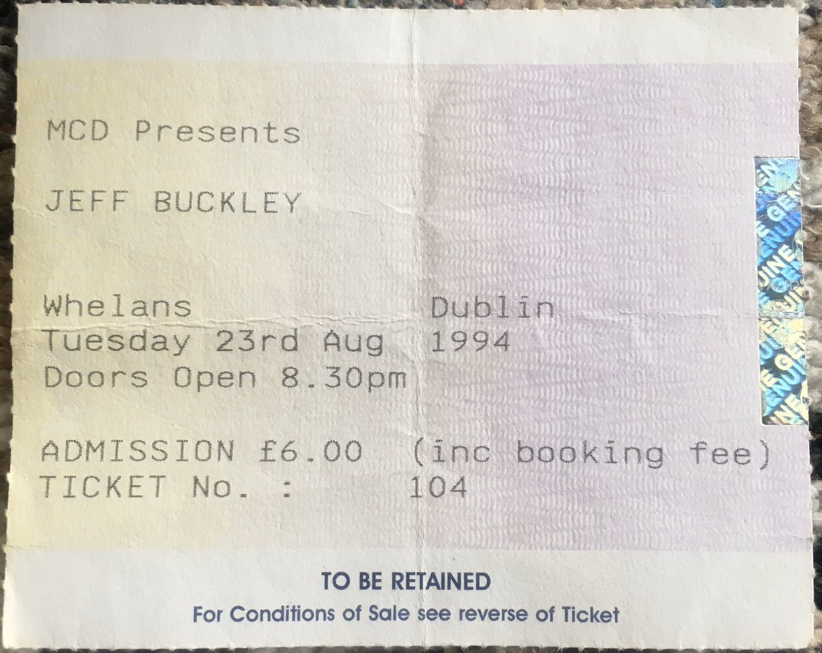 In my list of best gigs of all time is the night Jeff Buckley played @whelanslive. 23rd Aug '94. The air was electric. You could've heard a pin drop as he sang. A voice rose up from right beside us the crowd in gorgeous harmony. Might be wrong but I believe it was @mariadkennedy.