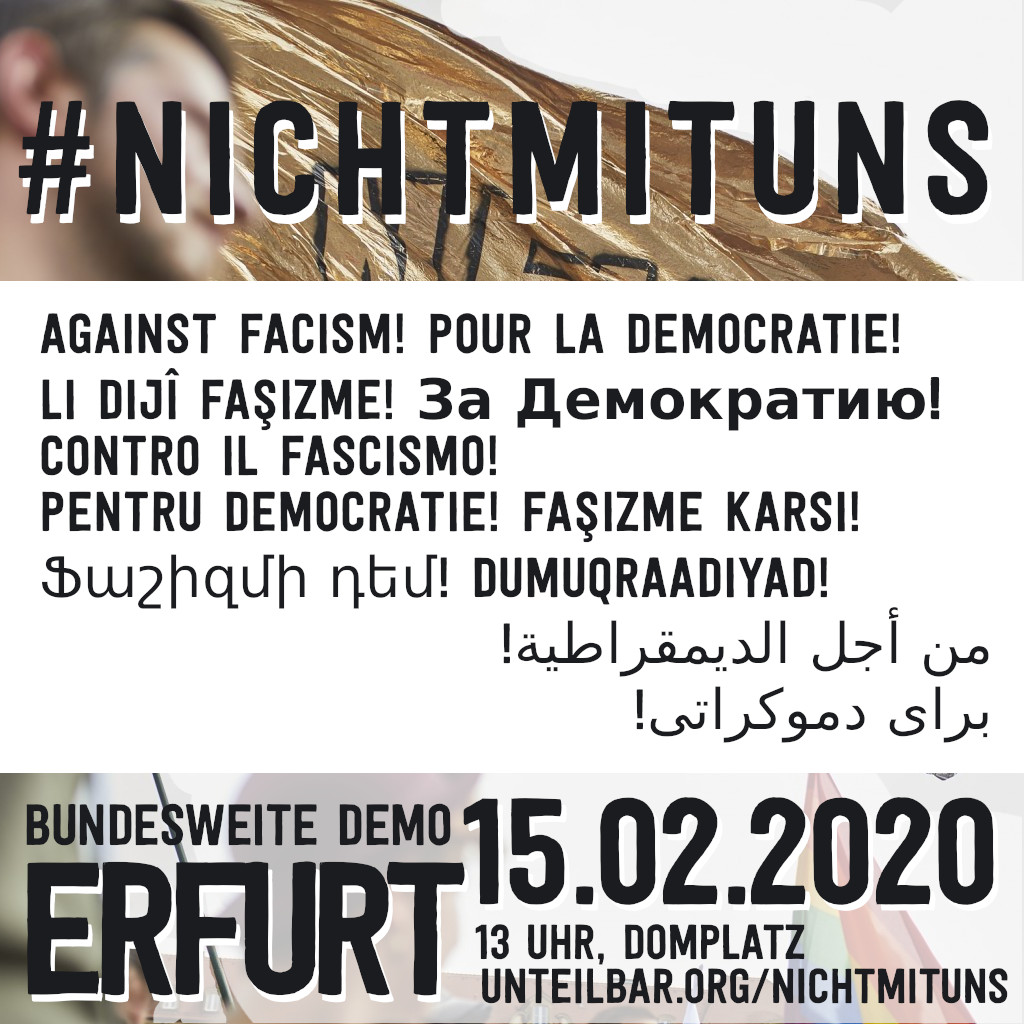 Tell all your friends and join us in #Erfurt this Saturday #ef1502: No pact with fascists - never and nowhere!   Our manifesto in other languages // Der Aufruf zu #nichtmituns in vielen Sprachen:  https://www. unteilbar.org/nichtmituns/#L anguages  … <br>http://pic.twitter.com/ukBvDSYG6S