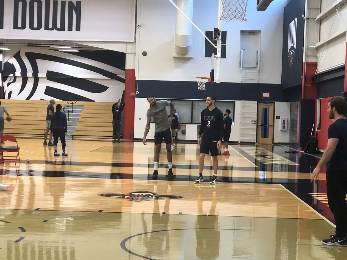 BI didn't go through practice today, but he is doing his usual post-practice shooting game with Lonzo.