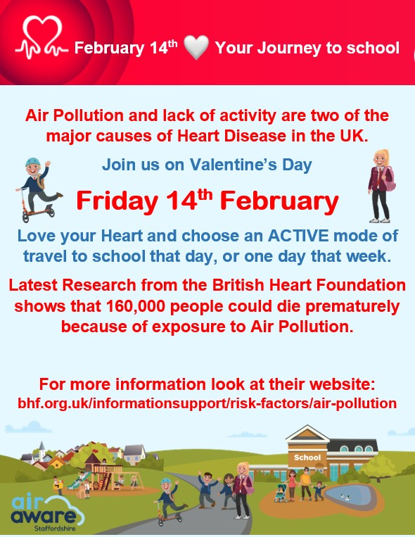 February 14th is not only Valentine's Day it is Love Your Journey To School day.  Let's all try an ACTIVE mode of travel to school on Friday. #LoveYourJourney  @ActiveStaffspic.twitter.com/6lOl1wTbBE