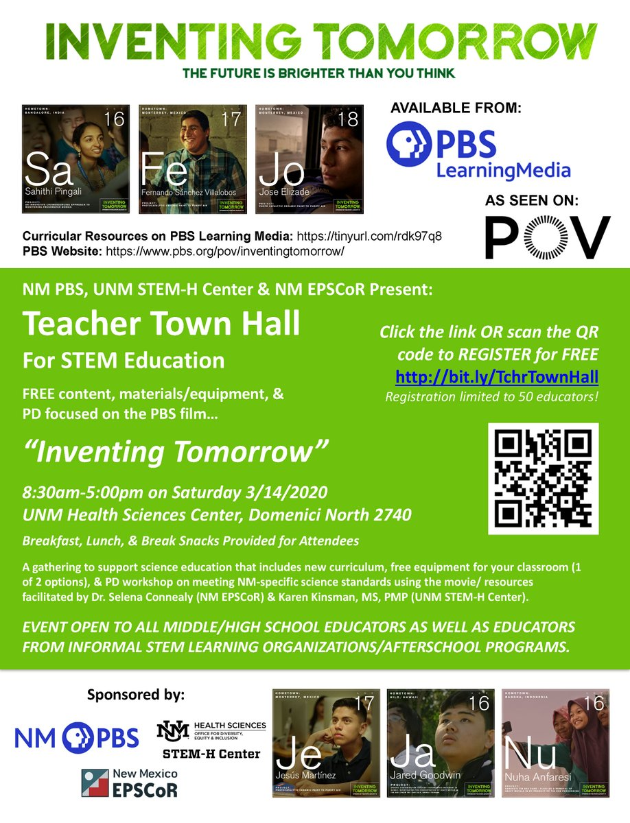 """Inventing Tomorrow"" 8:30am-5:00pm on Saturday 3/14/2020 UNM Health Sciences Center, Domenici North 2740  Teacher Town Hall For STEM Education  REGISTER for FREE http://bit.ly/TchrTownHall  Registration limited to 50 educators!pic.twitter.com/gQQ38FuU5C"