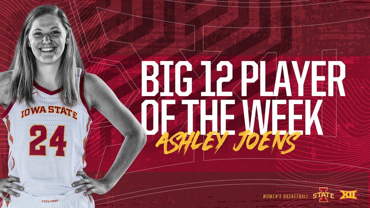 .@ashleyjoens picks up her fifth 𝗕𝗶𝗴 𝟭𝟮 𝗣𝗹𝗮𝘆𝗲𝗿 𝗼𝗳 𝘁𝗵𝗲 𝗪𝗲𝗲𝗸 honor of the season after back-to-back double-doubles as Iowa State went 2-0 on the week.   https://t.co/bPsZqazabZ  🌪️🏀🌪️ https://t.co/MRE4XsxuDC