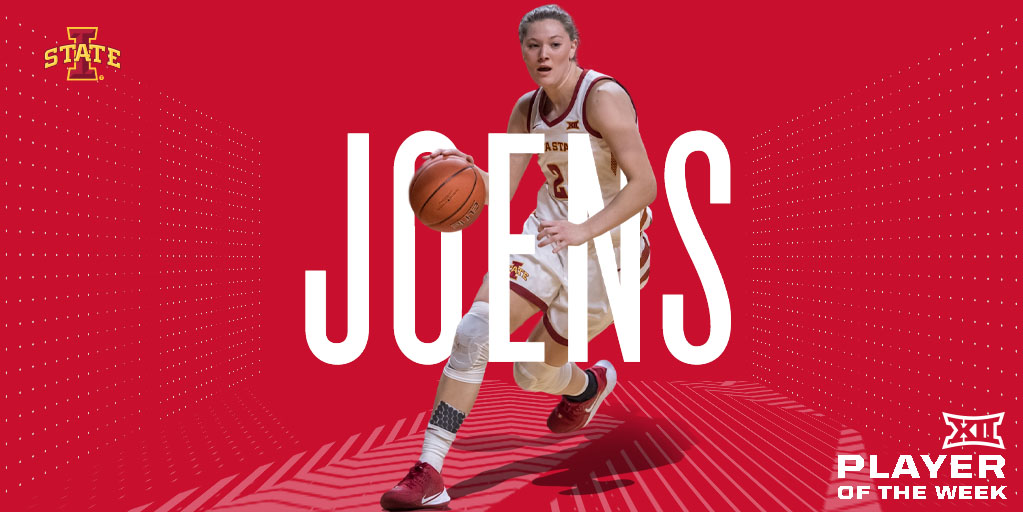 She averaged a double-double with 2⃣0⃣ pts and 1⃣4⃣.5⃣ rebs.  After suffering a dislocated shoulder in the third quarter, Joens returned in the fourth with 7⃣ pts and 7⃣ rebs, leading @CycloneWBB to victory.  Ashley Joens (@ashleyjoens) is the #Big12WBB Player of the Week. https://t.co/lFewZQg1Yw