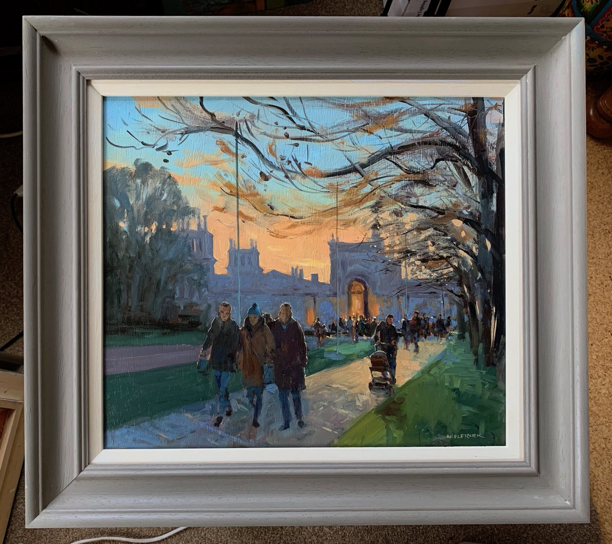 'Dusk over the palace'   #Blenheim #oilpainting             Oil on board, 21 x 19 inches framed