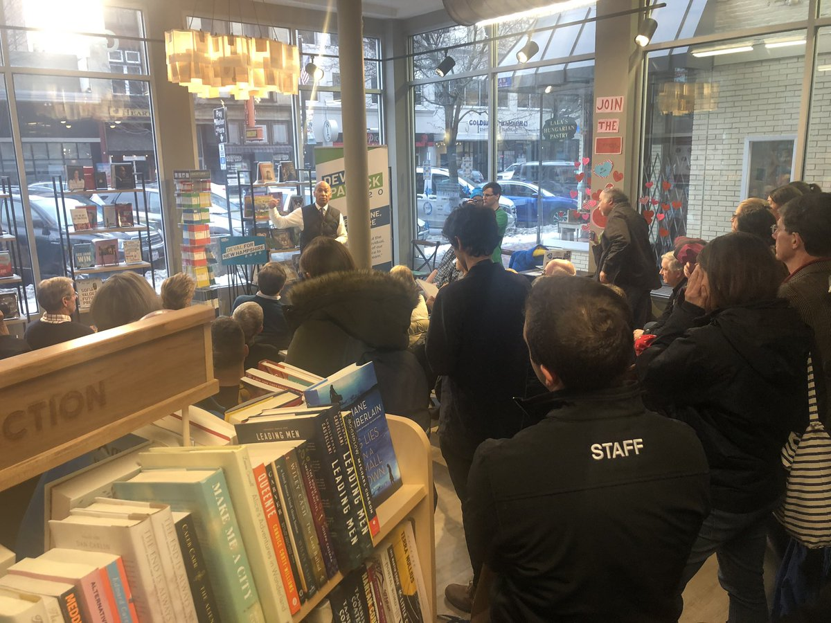 "15 hours until polls open in New Hampshire, and there are 100 people in the middle of the afternoon to see @DevalPatrick in a Manchester bookstore, talking about the need for ""radical grace."""