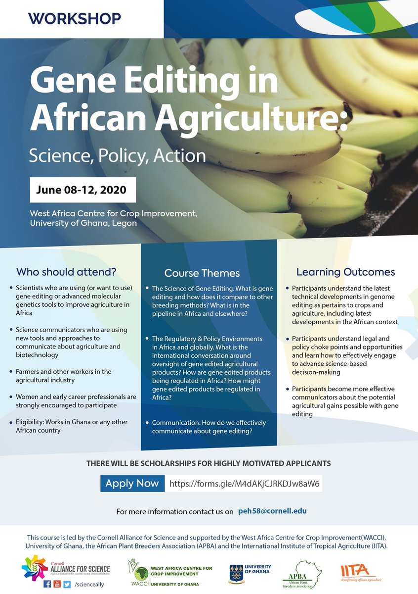 "Opportunity: thanks to @ScienceAlly @IITA_CGIAR and others   ""Gene Editing in African Agriculture: Science, Policy, Action"", a 5-day (June 8-12, 2020) intensive training: scientists, communicators, farmers, and other agricultural business professionals.  https://t.co/yaNp1MvBkT https://t.co/g7HcgSYyu3"