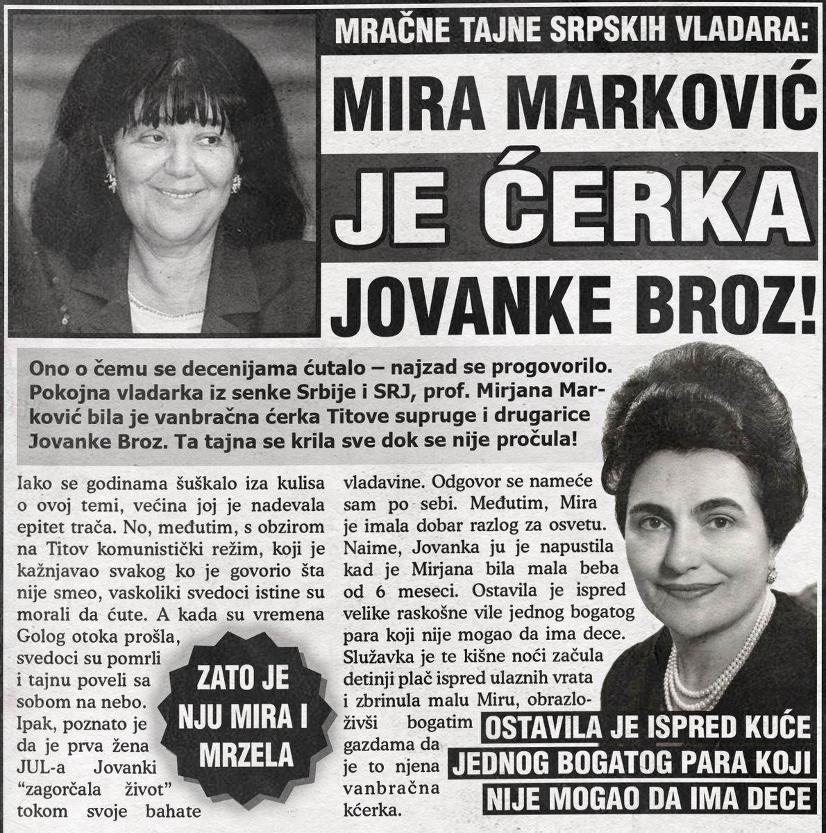 Mira Marković je ćerka Jovanke Broz