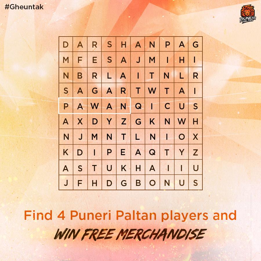 Spot 4 players and 3 lucky winners will win free Puneri Paltan merchandise. . . #BhaariPaltan #puneripaltan #gheuntak #pune #kabaddi #pkl #prokabaddi