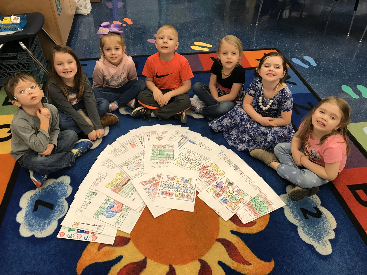Ms. Maureen's class made cards for the troops to kick off Random Acts of Kindness week!