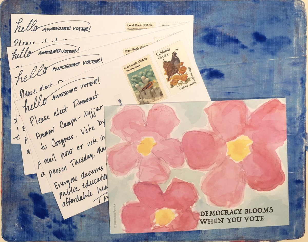 My next set of blooming #PostcardsToVoters ready for the mail tomorrow. #FlipCA50
