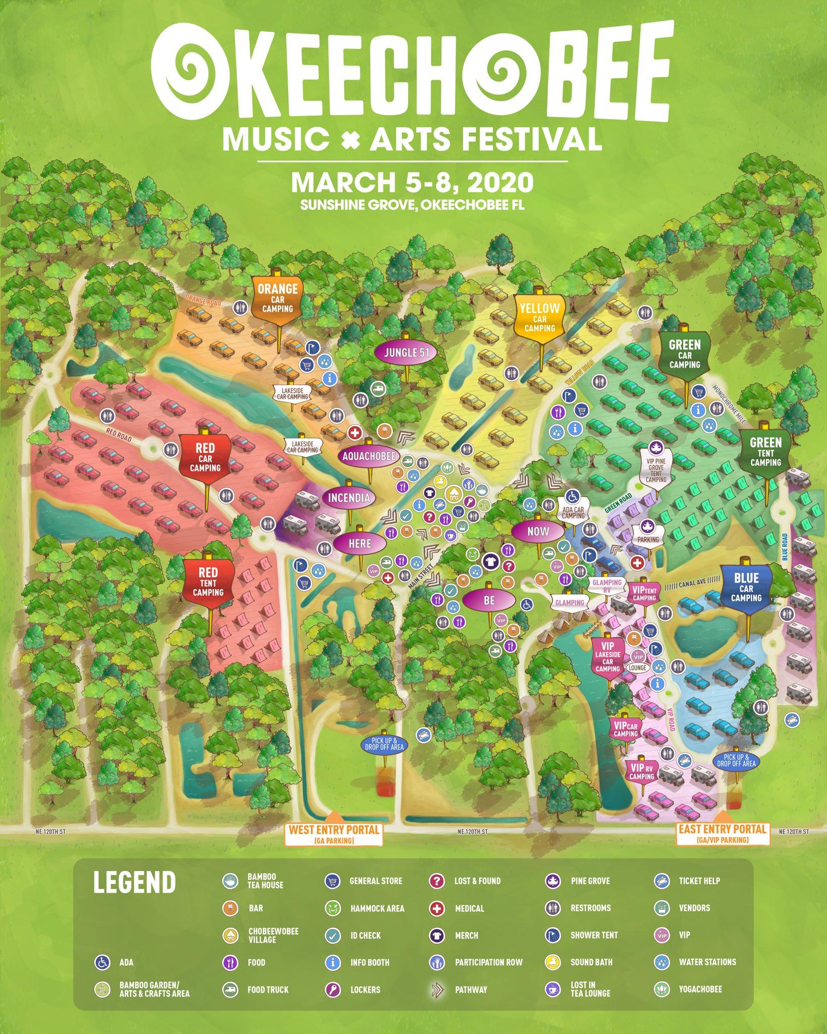 Okeechobee Festival map