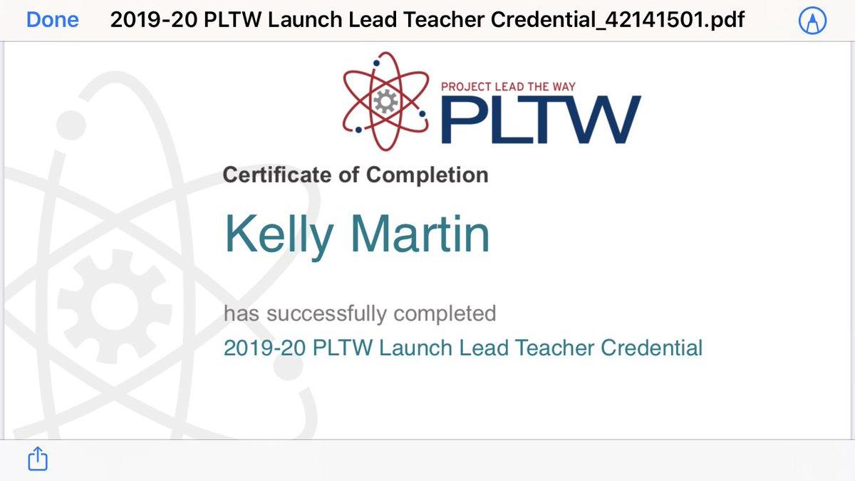 Lead Teacher training completed!! Thank you #PLTWSummit !! #hpsdtigers #PLTW
