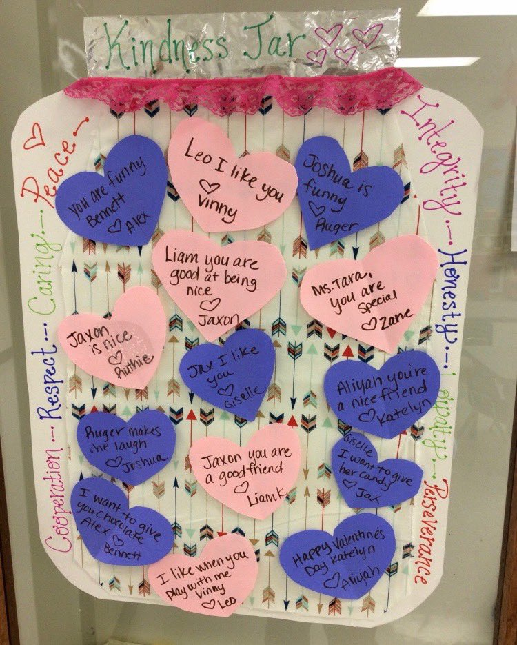 Ms. Tara's class learning how to spread kindness during Random Acts of Kindness week!