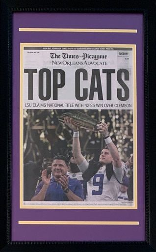 LSU Tigers 2019 National Champions Framed Newspaper Original Front Page - New Orleans Advocate Top Cats  With Joe Burrow https://t.co/Cur1fPq8u5 #lsutigers #lsuvsclemson #lsuvsclem #cfpnationalchampionship #cfpchampionship Great keepsake - framed New Orleans Advocate! https://t.co/pCBE7IItnO