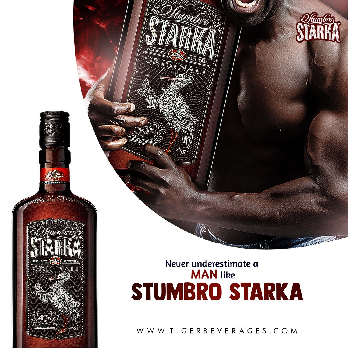 We know the strength of a man lies within. However a man as strong as Stumbro Starka Bitters is a companion to renew your strength  43% Stronger. We are not regular #TuesdayThoughts #TigerBeverages #Vodka #Beverages pic.twitter.com/KB98vyjTa5