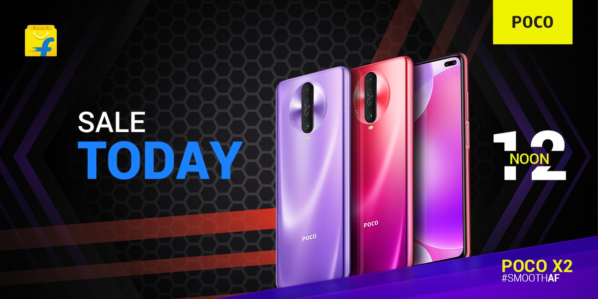 It's almost time for the first sale of #SmoothAF, #POCOX2.  Key specs: 120Hz refresh rate 64MP quad Sony IMX686 sensor SD 730G + LiquidCool Technology 4500mAh battery+27W in-box charger  RT if you're getting yours at 12 noon from @Flipkart.  2000 RTs and I'll giveaway 1 #POCOX2 .