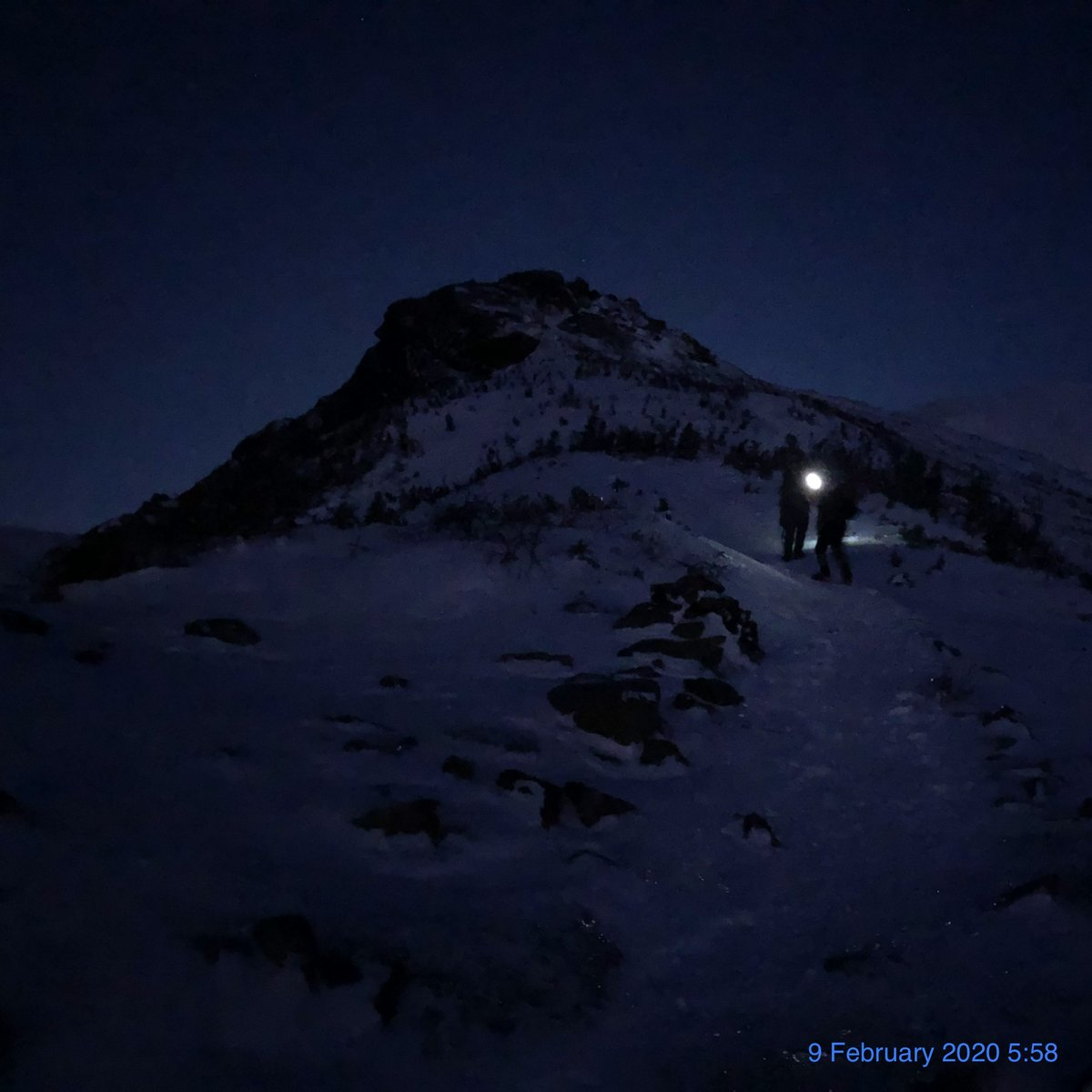Full moon, blue light, & chilled air at -20ºC on ascent to Mount Washington
