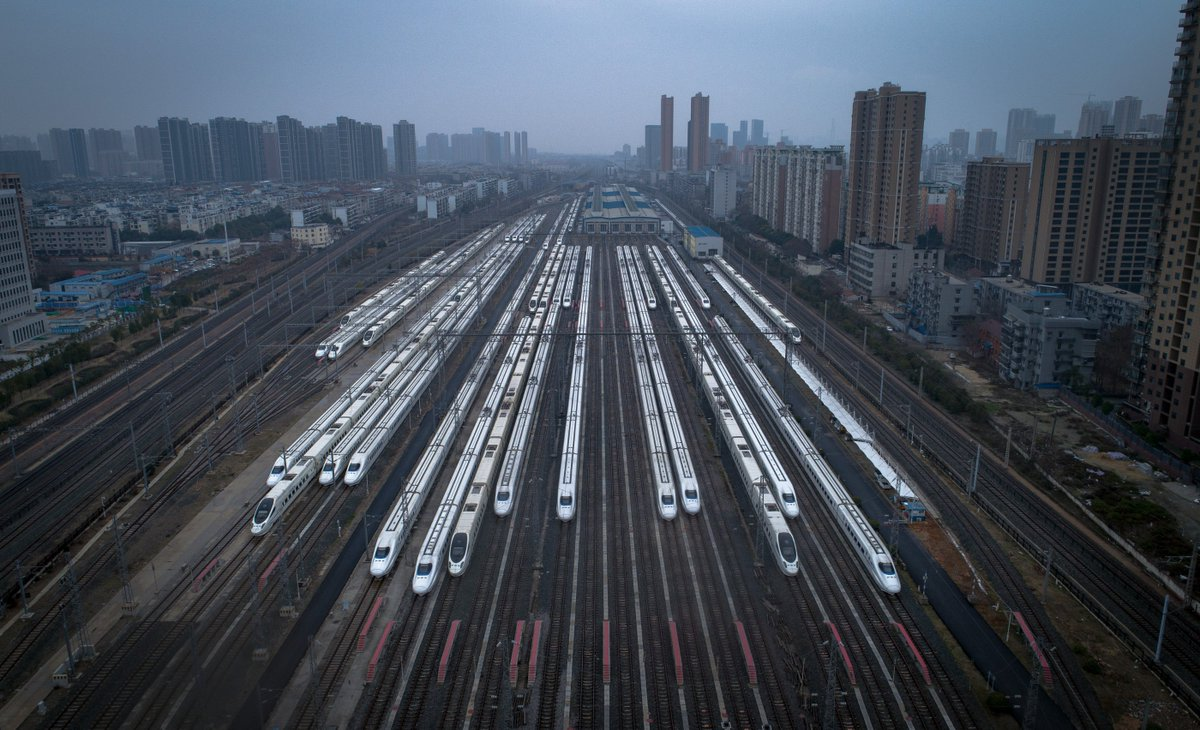 The parked trains in #WuhanTo control the novel coronavirus epidemic, departure and arrival trains in Hubei Province had been suspended or rearranged