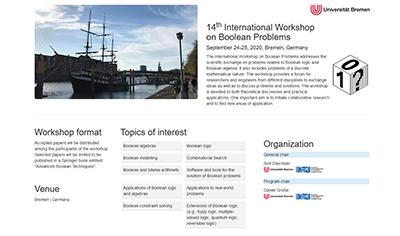 Wusstest Du, dass die @agra_uni_bremen und CPS der @DFKI dieses Jahr wieder den International Workshop on Boolean Problems ausrichtet? Vom 24. bis 25. September 2020 an der @UniBremen. Mehr Infos: http://www.informatik.uni-bremen.de/iwsbp/ #iwsbp #bp #wissenschaft #workshop #seidabei pic.twitter.com/Q3UEFUUCGy