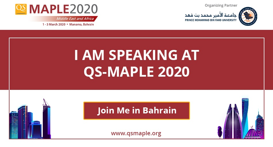 "Excited to share that I will be speaking at #QSMAPLE2020 #HigherEd #Conference in Bahrain from 1-3 March 2020. My session is on ""Building versatile leaders through rich campus life and quality student support – a case study from Kuwait"".   #AUM #Kuwaitpic.twitter.com/qWnjV1pN50"