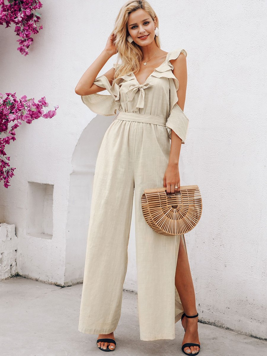 Ruffle Trim Tie Front Slit Hem Belted Maxi Jumpsuit with Bamboo Bags  Buy Now http://bit.ly/2vgRdmG   #fashionista #FashionDiaries #getthelook #perfectlook #ootd #ootdfashion #ootdinspiration #lookofthedaypic.twitter.com/C65VACif1e