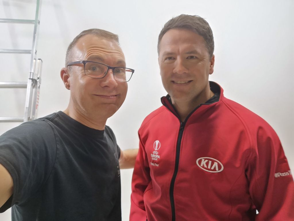 We welcome Michael Owen into the studio to film #AT for #KiaMotors and #TheUefaEuropaLeagueTrophyTour #StudioHireManchester Go and support their remarkable #PassThemOn football boot campaign