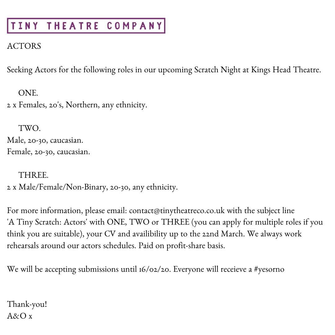 ACTORS! We want you!   Please RT! #scratchnight #actors #actorswanted #actorslondon #actorslife #auditions #selftape #theatremaker #kingsheadtheatre #opportunity #artsopportunity #ovconnectpic.twitter.com/aSFmz5TM1n