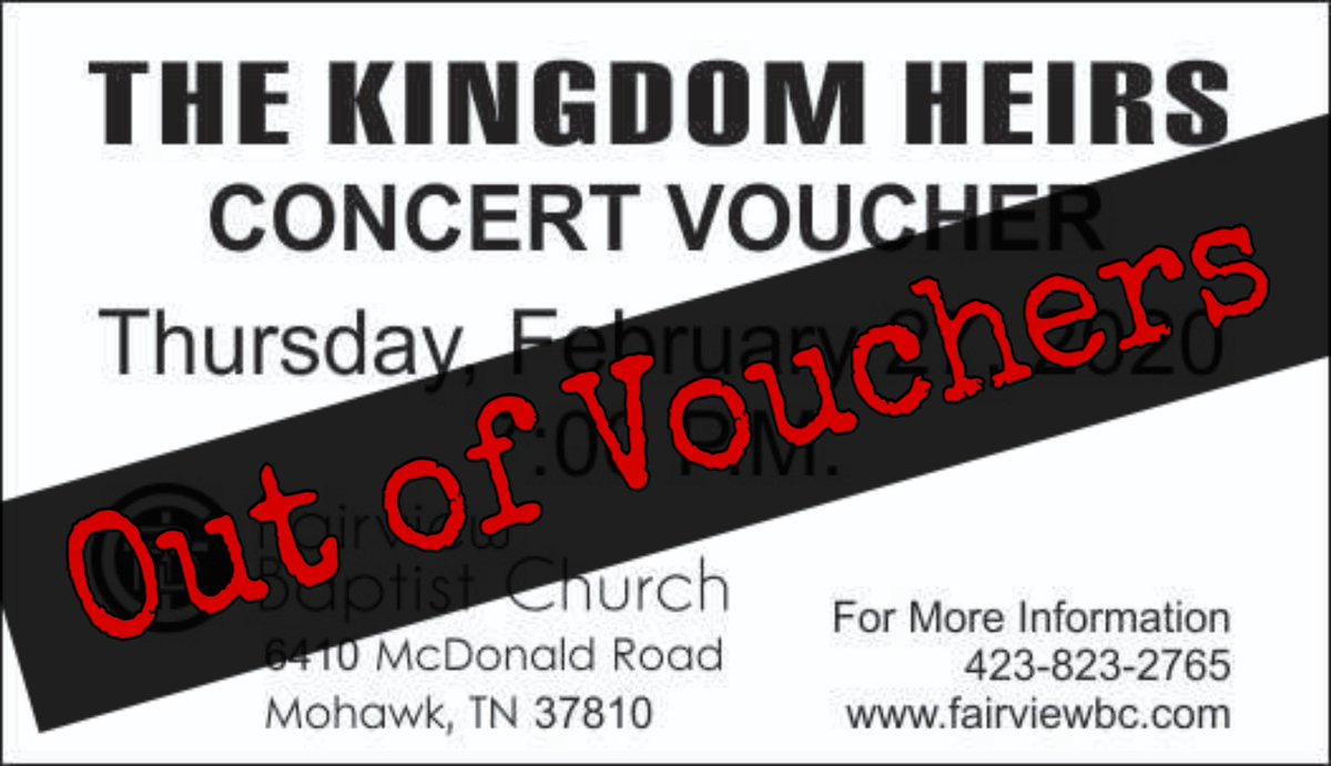 We are OUT of Kingdom Heir vouchers for February 27th! As a reminder: Voucher seating is between 6:15-6:30 p.m., beginning at 6:30, everyone will be seated on a first come-first serve basis.  #kingdomheirs #dollywood #fairviewbcpic.twitter.com/dRfgUlMl3Y