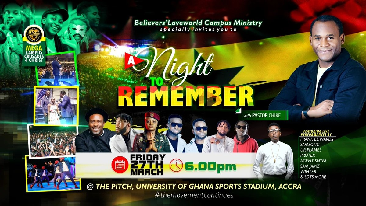 AKWAABA GHANA!🇬🇭   The varsity rockers are here!   'Gonna be a Night To Remember! History in the mix!   🗓 Fri 27th March   🏟 The Pitch, University of Ghana Sports Stadium, Accra.   ⏰: 6pm  #MCC4CGHANA #Blwcampusministryrocks #blwghanazoneA #Acts29 #themovementcontinues