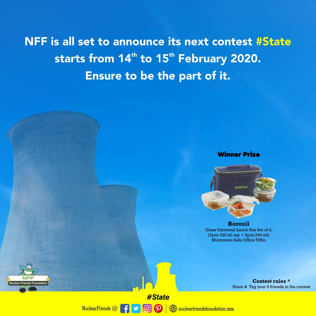 #ContestAlert NFF is all set to announce its next contest #State, starts from 14th to 15th February 2020. Ensure to be the part of it.  Reach us @ http://nuclearfriendsfoundation.com  #Contest #like #RT #comment #chance #Win #prizes #Today #goodluck #giveaway #competition #TuesdayMotivation