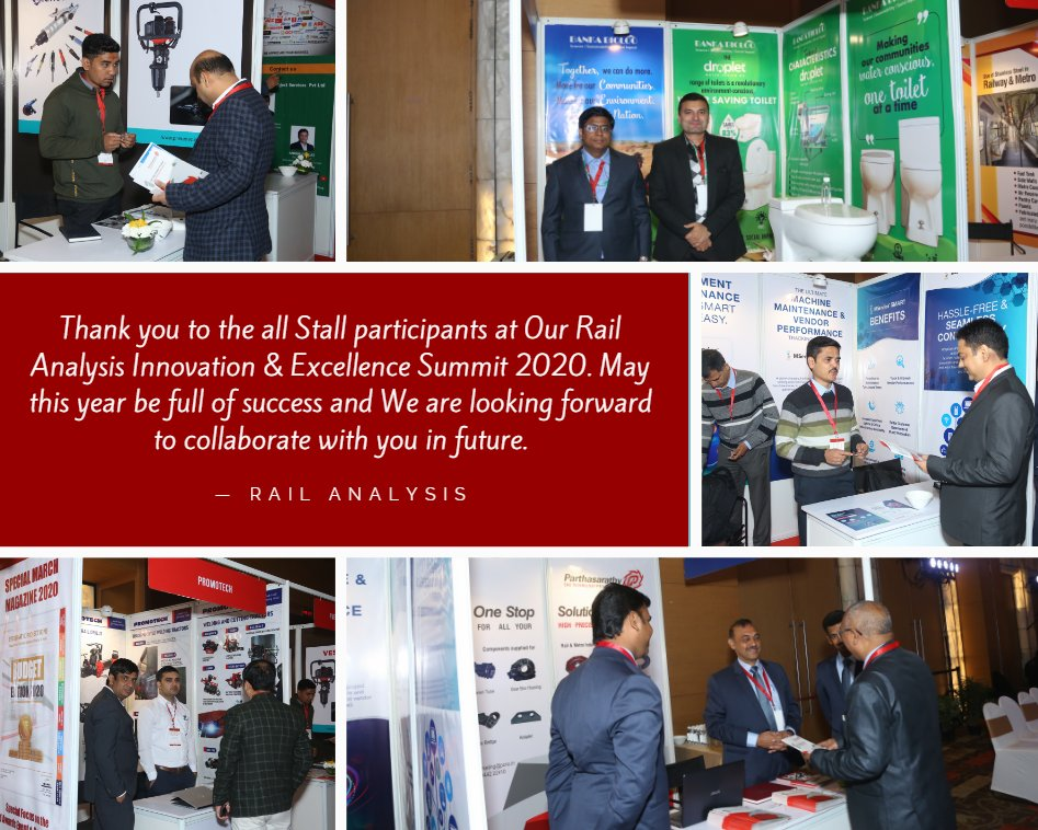 Thank you to the all Stall participants at Our #RailAnalysis Innovation & Excellence Summit 2020. May this year be full of success and We are looking forward to collaborate with you in future.  #stall #railway #parthasarthy #promotech #pneumec #bankabioloo #selfservitsolutionpic.twitter.com/mcyoDaQkth