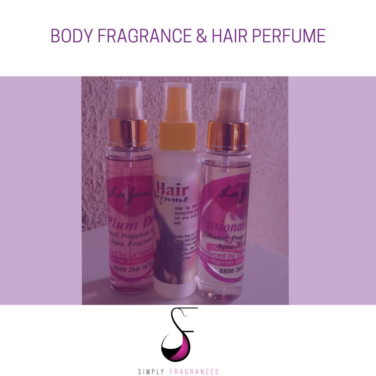 Body fragrance and hair perfume