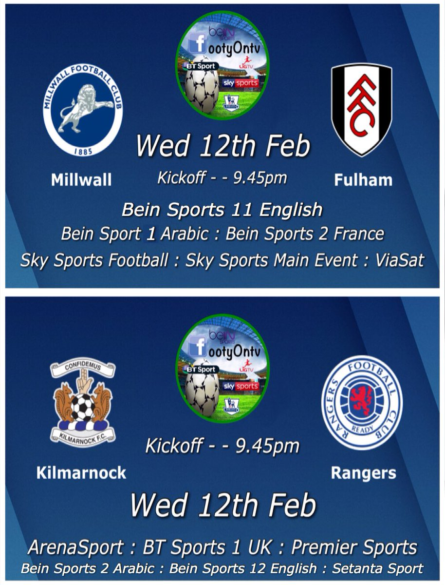 Wednesday's football tv channels. pic.twitter.com/rRccZfDJfC