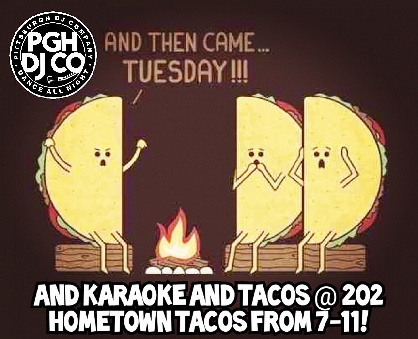 #202hometowntacos is the place to be #tonight for #tacotuesdaykaraoke ! Come sing and get a #freetaco or #freemargarita #DJ Hustle and Pittsburgh DJ Co! #pittsburghdj #pittsburghkaraoke #pittsburghtacospic.twitter.com/iTFqnwXlgK – at 202 Hometown Tacos