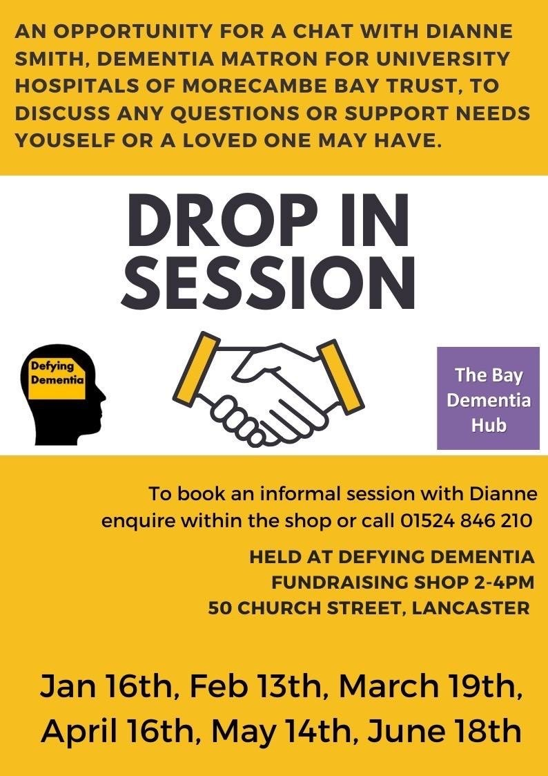 Dianne Smith, Dementia Matron for Morecambe Bay Hospital Trust, is holding monthly drop-in surgeries for carers, at the Defying Dementia Fundraising Shop at 50 Church Street, Lancaster. The next one is Thursday 13th February.