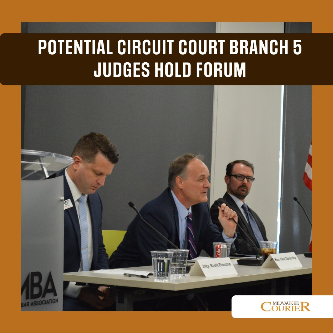 Candidates for Circuit Court Branch 5 (Brett Blomme, Paul Dedinsky and Zack Whitney) gathered to answers from  the community about their qualifications for Judge. Read more at http://bit.ly/MKECourier .   #milwaukeecourier #mkecourier #couriermke #urbannews #dailynews #newsreporterpic.twitter.com/UxjWOOHH3k