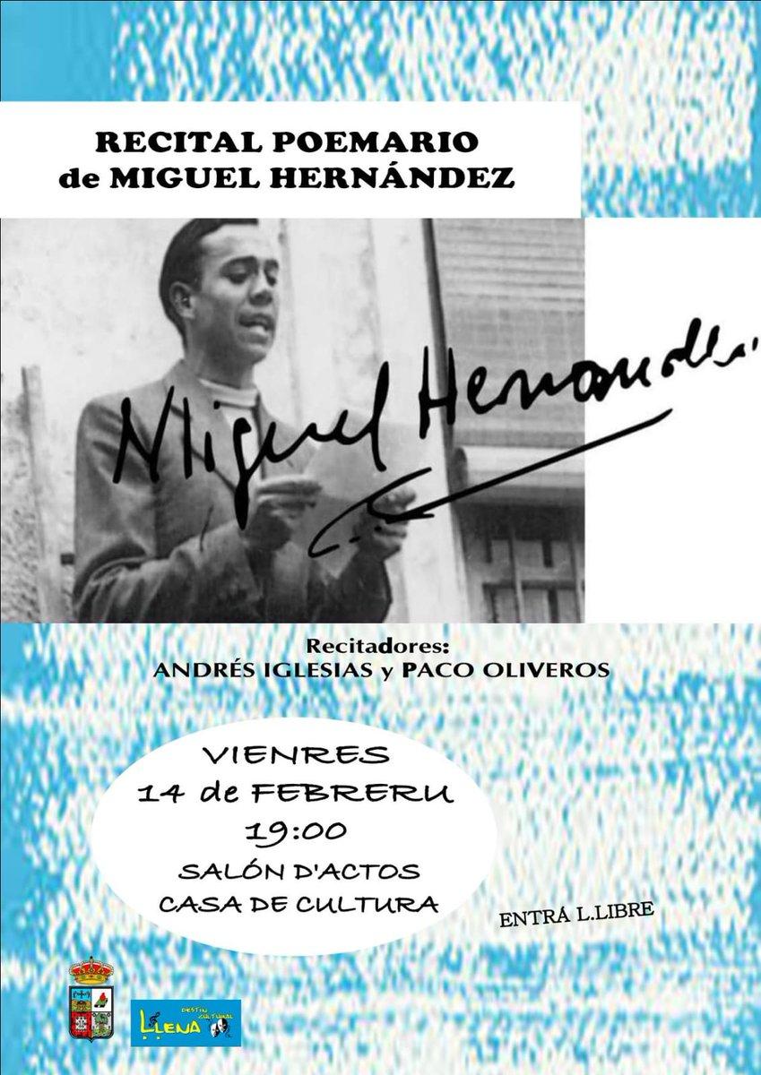 Recital Poemario de Miguel Hernández #viernes14 #Poladelena #LaPolapic.twitter.com/2QsdpjkmsX