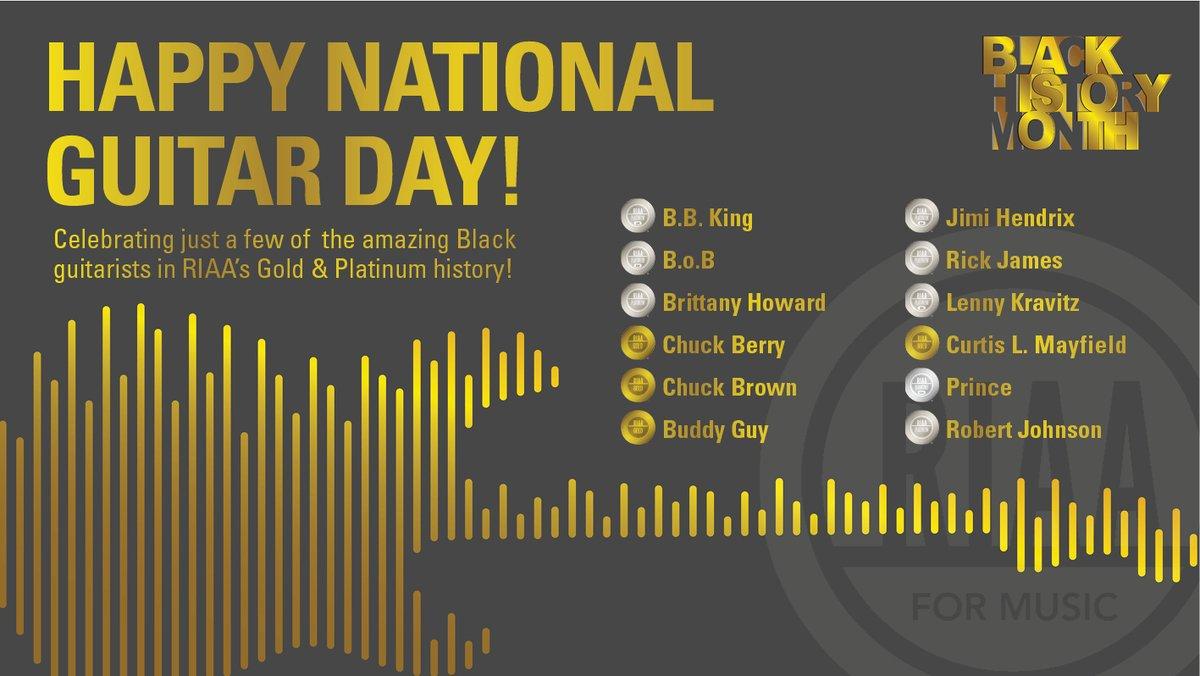 Today is #NationalGuitarDay & in honor of #BlackHistoryMonth, we are highlighting just a few of the amazing Black #GoldAndPlatinum📀💿 guitarists! #BBKing @BobAtl @Blkfootwhtfoot @ChuckBrownDC @TheRealBuddyGuy @JimiHendrix @RickJames @LennyKravitz @Prince & more! 🎸🎸 🎸