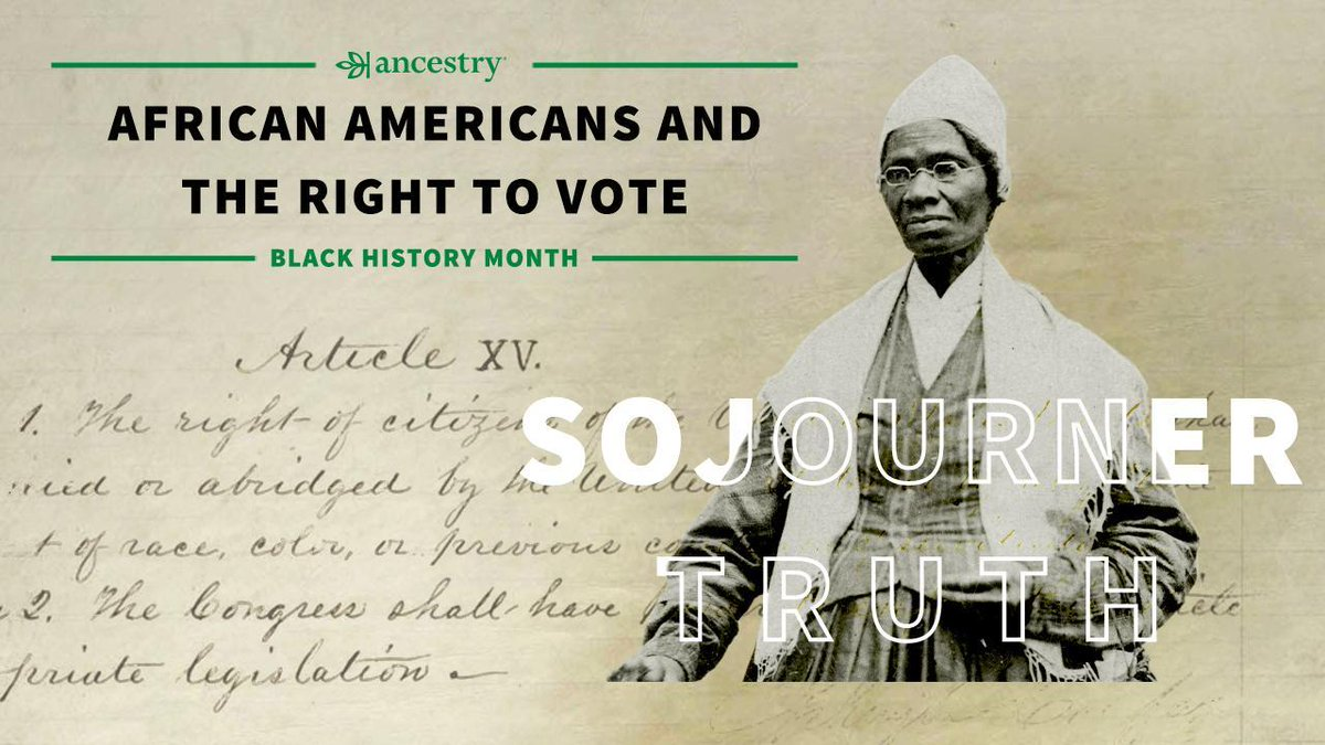 Ancestry® honors #BHM by highlighting African American historical figures who fought for universal suffrage.   Sojourner Truth was a voice for suffrage for all, despite the strife between abolitionists and women's suffrage supporters. Read more here: