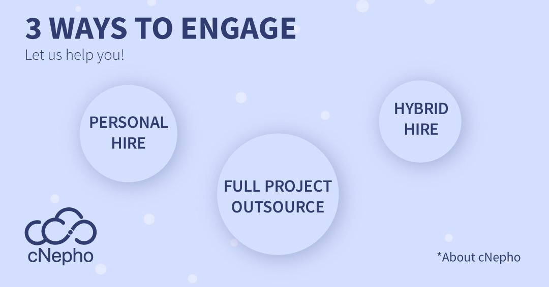 Get Started https://t.co/djxwo3khWB  1. Personal Hire: Hire a developer to solely manage and compliment an existing team.  2. Hybrid Hire: Hire cNepho to fully manage the developer on your project.  3. Full Project Outsource: Hire cNepho per project basis.  #YouThinkIt #WeBuildIt https://t.co/cVLBAR9E6E
