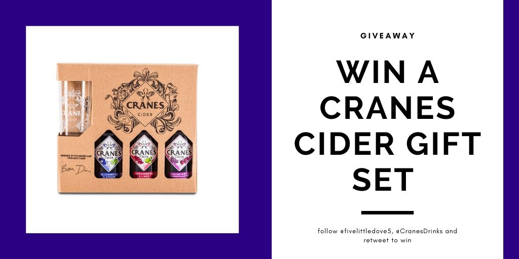 AD  #WIN A Cranes Cider gift set! Follow @fivelittledove5 @cranesdrinks and #retweet to win. Competition ends on 23rd Feb! Good luck! #giveaway #competition