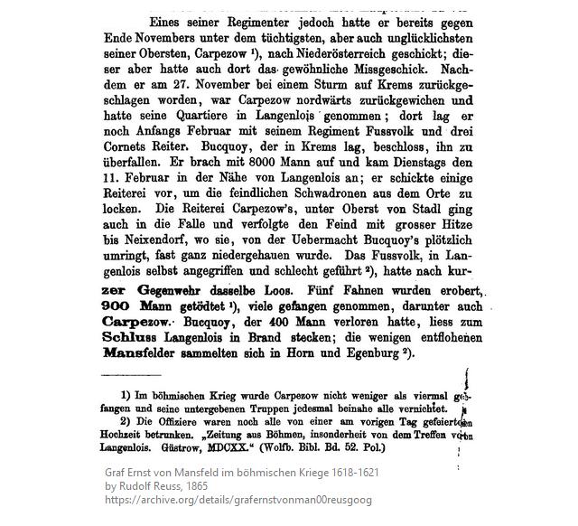 Österreich. Oberst Carpezow (Böhmen) liegt in Langenlois, belagert Bucqouy (Kaiserliche) in Krems. Carpezows Pech ist bekannt: er wurde schon 4x gefangen! So rückt Bucquoy mit 8.000 Mann aus um kommt am 11. Feb 1620 #vor400 vor Langlouis an.  …>pic.twitter.com/BxYjvtZRVX