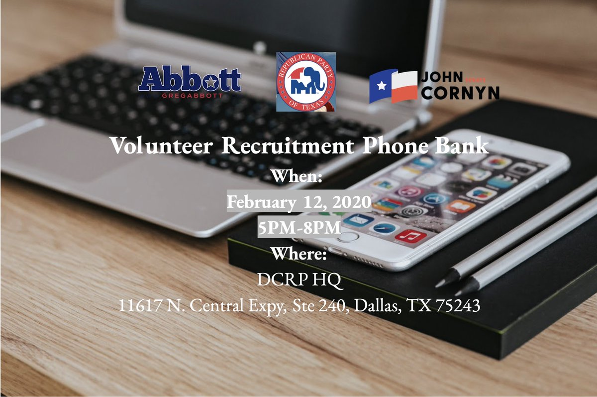 Join @AbbottCampaign , @TexasGOP and @TeamCornyn tomorrow at DCRP HQ for volunteer phone banking! #keeptexasred #dallasgop